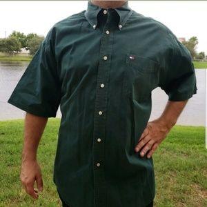 Tommy Hilfiger Dress Shirt Olive Career Mens Work